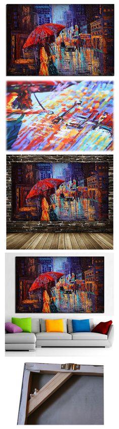 Tableau Ville Rue de New York City Street of NY Femme au Parapluie Rouge Peinture à l'Huile sur Toile Fait Main Art Contemporain