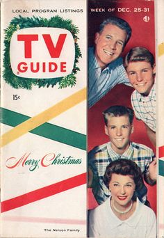 "Ozzie, David, Ricky, and Harriet Nelson of ""The Adventures of Ozzie and Harriet""  Merry Christmas  December 25-31 1954"