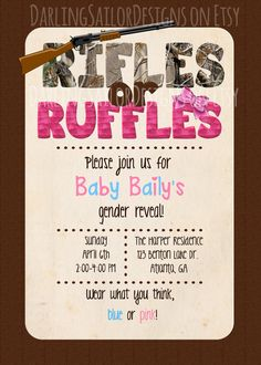 Rifles or Ruffles Gender Reveal Party by DarlingSailorDesigns, $10.00 Camo Party Invitation Digital File