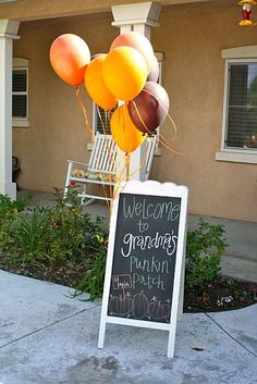"Chalkboard welcome sign. Fall baby shower.**Would also be cute with ""daddy's"" instead of ""grandma's"" :)"