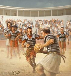 Harpastum, also known as Harpustum, was a form of ball game played in the Roman Empire. The Romans also referred to it as the small ball game. The ball used was small (not as large as a follis, pag. Military Art, Military History, Ancient Rome, Ancient History, Roman Sports, Pax Romana, Marshal Arts, Roman Legion, Roman Republic