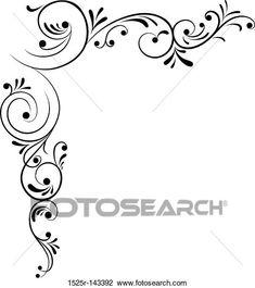 Element for design, corner flower, vector View Large Illustration Wood Burning Stencils, Wood Burning Patterns, Tumblr Flower, Frame Wall Collage, Wall Stencil Patterns, Pinstriping Designs, Yellow Art, Flower Doodles, Canvas Designs