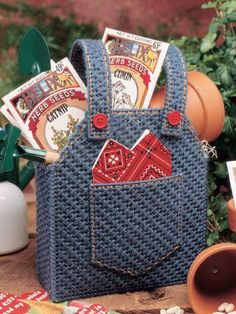 Overalls Gift Bag ~ Plastic Canvas