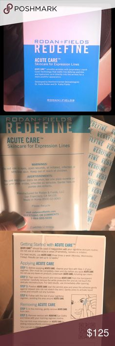 Rodan & Fields Redefine Acute Care for Fine Lines New unsealed box of Rodan & Fields REDEFINE Acute Care Skincare for Expression Lines  This products smooths wrinkles with proprietary Liquid Cone Technology that will ultimately give you a more youthful appearance.   Kit contains 10 individual packets with two patches. One for each eye. Rodan & Fields Makeup Eye Primer