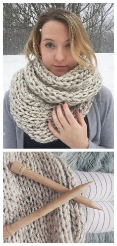 DIY Knit Cheap Super Chunky Scarf free Pattern from Margo Knits.Don't want to spend a small fortune on the Loopy Mango chunky knits? And I mean around $100 of their yarn for a scarf! This $16 scarf by Margo Knits has you covered.Instead of using Loopy Mango, knit with 2 strands - held together, ofLion Brand Wool Ease Thick n' Quick and a pair of $15 size US 50 knitting needles. This is an absolute beginner pattern: just knit and purl.For everything DIY Knitting, go HERE.
