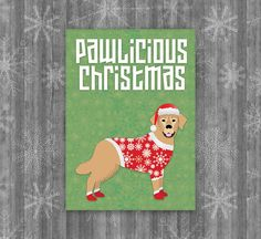 Printable Dog Christmas Card, Pawlicious Christmas. Golden Retriever sporting a red Christmas sweater, Santa hat and red booties. 5x7, includes two envelope liners. #Christmascards #holidaycards #dogcards #goldenretriever #dogsweater #santahat #christmas #card #dog
