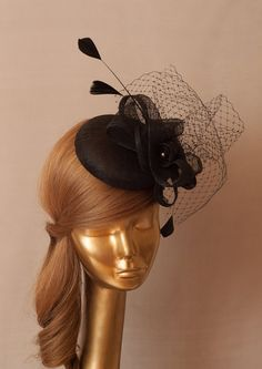BLACK FASCINATOR. Sinamay Bridal Fascinator with Veil and Fine Feathers, Derby Mini Hat on Etsy, $135.00