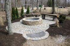 patio design ideas with pavers | Paver patio and firepit before we extended the patio
