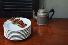 ✿ bluefolkhome on etsy ✿  Gazebo White Salad Plates Pfaltzgraff 7 3/8 inch Stoneware