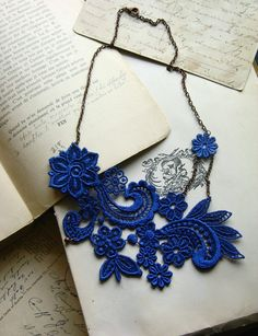 Something blue statement necklace -> lace necklace MIHARA cobalt blue by whiteowl on Etsy. $32.00, via Etsy.