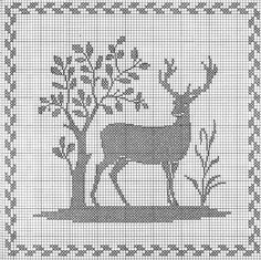 deer with tree - free cross stitch pattern