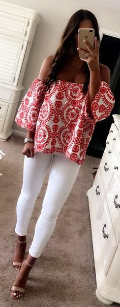 #Summer #Outfits Geometric Print Off The Shoulder Blouse