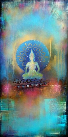 """Fear is a natural reaction to moving closer to the truth."" ~ Pema Chodron Artist: Tara Catalano Buddha Art l Lotus Buddha, Art Buddha, Buddha Kunst, Buddha Painting, Buddha Buddhism, Art Asiatique, Sacred Geometry, Mandala, Abstract Art"