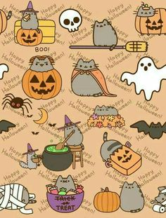 It's a Pusheen Halloween, so let's just make some fun art to celebrate the first of the holidays that come with the change of the seasons. Kawaii Halloween, Cute Halloween, Holidays Halloween, Gato Pusheen, Pusheen Love, Cute Wallpapers, Wallpaper Backgrounds, Iphone Wallpaper, Halloween Wallpaper