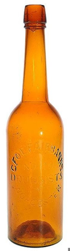 Geo E Fairbank's, No 10, Druggists Front St, Worcester, Yellow Amber, 12 inch.