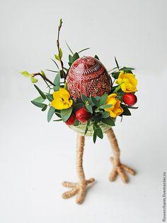 Пасхальная композиция - белый,зайчик,живые цветы,Заяц в подарок,заяц из цветов