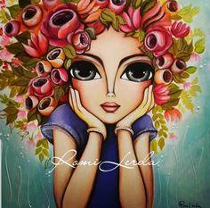 Romi Lerda Obras Happy Paintings, Colorful Paintings, Art Drawings Sketches Simple, Cute Drawings, African Art Paintings, Mother Art, India Art, Art Corner, Whimsical Art
