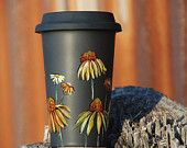 Hand Painted Black Ceramic Travel Mug - Poppy, Botanical Collection - Limited Edition - made to order