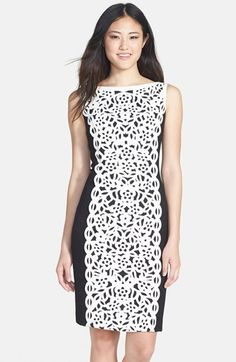 Nue by Shani Laser Cut Crepe Dress available at #Nordstrom