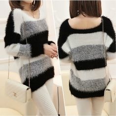 We love it and we know you also love it as well 2017 pullover women Fashion Autumn/Winter Soft Mohair Striped Long Sleeve V-Neck Knitted Pullover Brand Design Sweaters W00355 just only $14.37 with free shipping worldwide  #womansweaters Plese click on picture to see our special price for you