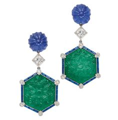A Pair of Emerald, Sapphire and Diamond Ear Pendants Of floral design, each suspending a carved hexagonal emerald plaque framed by channel-set sapphires accented by small round diamonds, topped by an old European-cut diamond to a circular carved sapphire Emerald Earrings, Sterling Silver Dangle Earrings, Stone Earrings, Women's Earrings, Bijoux Art Deco, Art Deco Jewelry, Jewelry Gifts, Jewellery, Jewelry Box