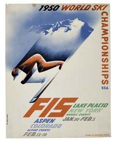 Herbert Bayer - FIS / WORLD SKI CHAMPIONSHIP; Creation Date: 1950; Dimensions: 22 X 17 in (55.88 X 43.18 cm)