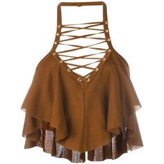 Balmain cropped top (19.300.625 IDR) ❤ liked on Polyvore featuring tops, shirts, crop tops, balmain, brown, halter neck crop top, sleeveless shirts, brown halter top, sleeveless crop top and layered tops
