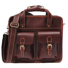 """Handmade leather briefcase / leather messenger bag / leather satchel / 11"""" macbook air or 12"""" laptop bag - n21 - Thumbnail 1"""
