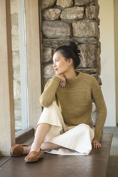 Traditional Gansey construction inspired designer Courtney Spainhower to create this spectacular sweater knitting pattern. Knit in one piece from the bottom up, the bottom hems are curved with short-row shaping, and sleeve stitches are picked up and worked down.