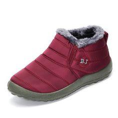 Slip-On Fur Linen Boots Women Ankle Flat shoes