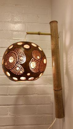 'Bamboo sconce' organic gourd art light photo 2