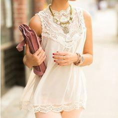 Sleeveless Lace Flower Mini Dress,Sexy Hollow Out Short Dress Women Beach Evening Party Vest Shift Chiffon Dress White LQ4374 | Souq Zila