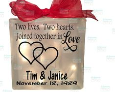 home decor lighted glass block two hearts come together joined as one forevermore, wedding gift, bride, anniversary, gift for couple Lighted Glass Blocks, Great Anniversary Gifts, Battery Operated Lights, Home Decor Lights, Two Hearts, Table Toppers, Live Love, Couple Gifts, Light Table