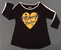 NWT Pittsburgh Steelers Justice Girls Long Sleeve Heart T-Shirt Size 12-14 NFL #Justice #PittsburghSteelers