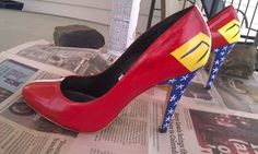 Wonder Woman size 9 high heels by BonnyKateCuriosities on Etsy, $100.00