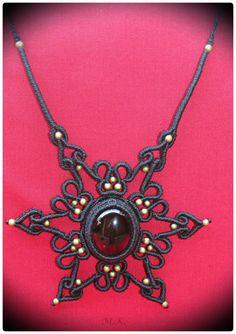 Adjustable Macrame Necklace with Smoky Quartz semi-precious stone and bronze beads.