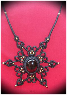 Adjustable Macrame Necklace with Smoky Quartz semi-precious stone and bronze beads.