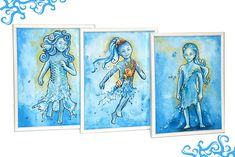 Water Fairies  Original framed paintings set of three