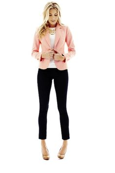liz claiborne sweater, cropped jeans, and printed blazer