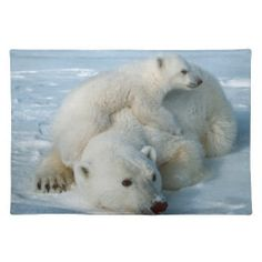 Polar Bear and Cub Wildlife Lovers Placemats
