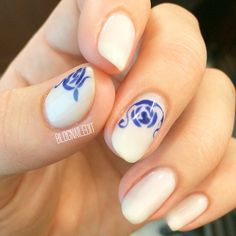 "Delicate blue-patterned Delft style china patterns on my nails today. The blue is ""OPI Eurso Euro"" and the white is ""Funny Bunny"""