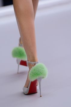 Christian Louboutin for Michael van der Ham Spring/Summer 2013 Shoes: Ankle Strap Platform D'Orsay with Rounded Toe & Fur Detail on the Heel.