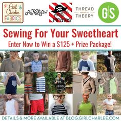 This month Girl Charlee Fabrics is celebrating sewing for the men in your life and in collaboration with Thread Theory Designs, See Kate Sew, Patterns for Pirates, and Greenstyle Creations, we are bringing you an incredible giveaway for a chance to win a $50 GirlCharlee.com Gift Card + 8 PDF Indie Sewing Patterns!! Details and more on The Girl Charlee Blog. Good luck!