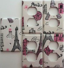 Eiffel Tower Bedroom Decor | ... Paris Eiffel Tower Light Switch Cover Set 1&4 Girls Bedroom Decor