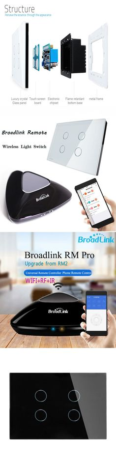 Broadlink RM2 RM Pro Intelligent IR/RF/WiFI Controller, Home Automation 4 Gang Glass Panel Remtoe Control Switch,Smart Home