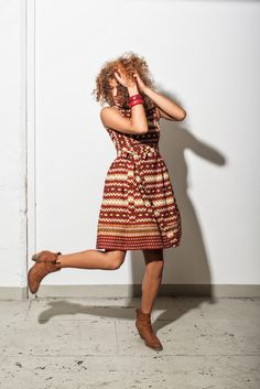 Dress Hannah in Red - African Print - Noh Nee Benin collection