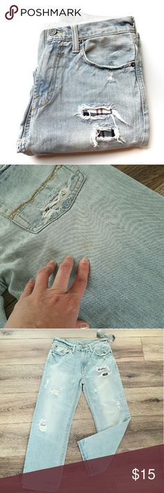 {Mens} American Eagle distressed jeans In good condition. Has a only two flaws: two small light yellow stains (see pics). Does not affect wear. Looks like it is part of the destroyed look. Has plaid pieces sewn in behind tears in jeans. Measurements provided in pics above. Includes waist and Inseam. 28x28 in size. Light Jean color. From a smoke and pet free home. Fast shipping! Bundle and save. *FOLLOW ME to see NEW ARRIVALS that are added weekly* American Eagle Outfitters Jeans