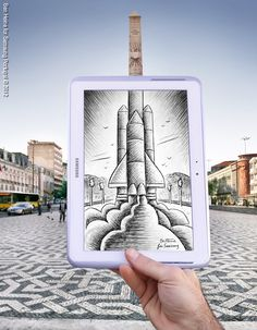 Challenge in Lisbon, Portugal, pencil-vs-camera, by Ben Hine
