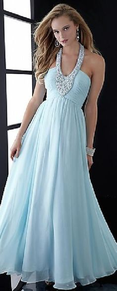 Embellished A-Line Light Sky Blue Long Chiffon Tie Prom Dresses In Stock lkxdresses15642cfg #longdress #promdress