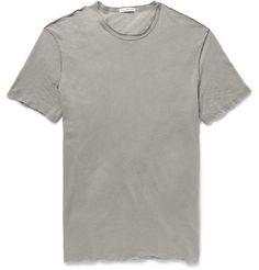 James Perse Distressed Slub Linen and Cotton-Blend T-Shirt   MR PORTER
